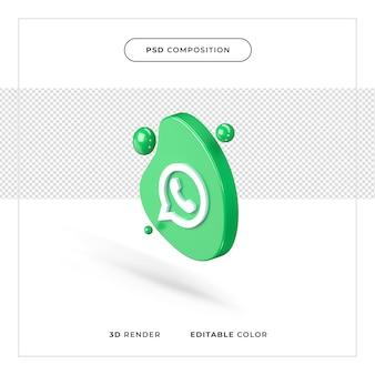Logo de whatsapp isolé rendu 3d