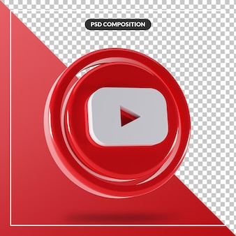 Logo youtube brillant design 3d isolé