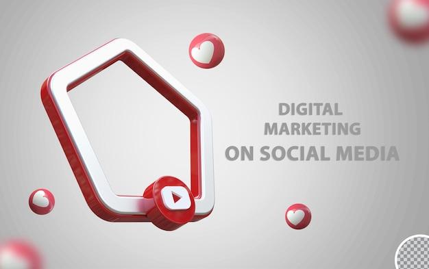 Logo youtube avec maquette de cadre 3d