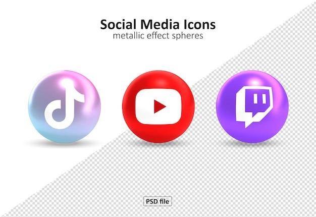 Logos d'icônes de médias sociaux