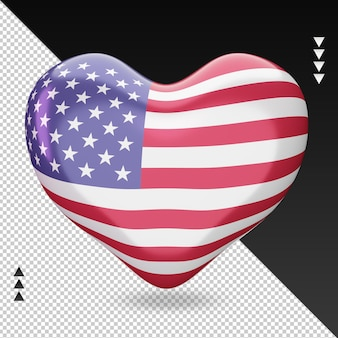 Love america flag foyer rendu 3d vue de face