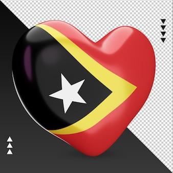 Love timor leste drapeau foyer rendu 3d vue gauche