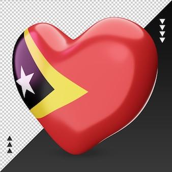 Love timor leste foyer de drapeau rendu 3d vue de droite