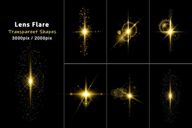 La lumière transparente brillante dorée scintille avec des fusées éclairantes