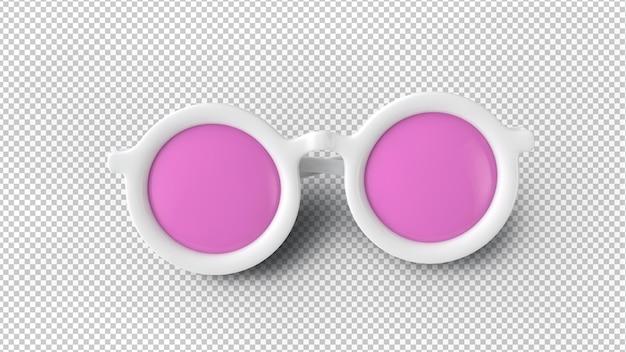 Lunettes de soleil à lentilles roses avec cadre blanc isolé sur un rendu 3d transparent