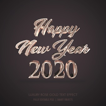 Luxe 3d happy new year 2020, effet de texte en métal or rose
