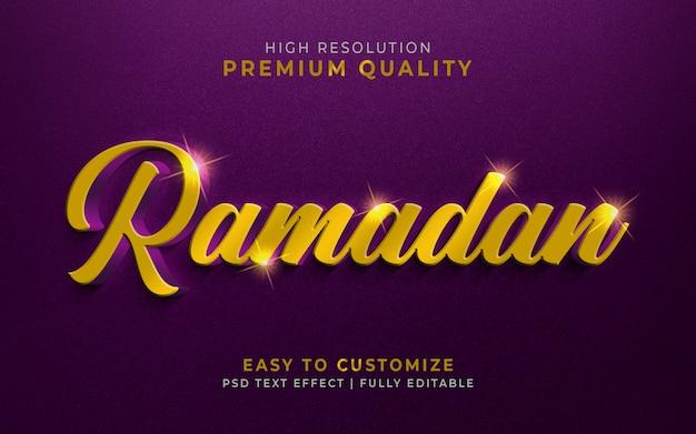 Luxueuse maquette d'effet de style de texte 3d ramadan