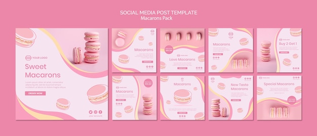 Les macarons emballent une publication sur les réseaux sociaux