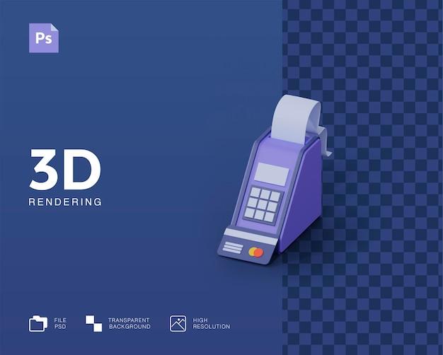Machine de paiement 3d avec illustration de carte de crédit