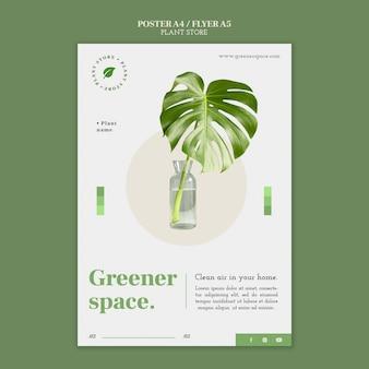 Magasin de plantes avec affiche de feuille de monstera