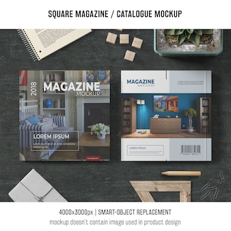 Magazine carré ou maquette avec différents objets