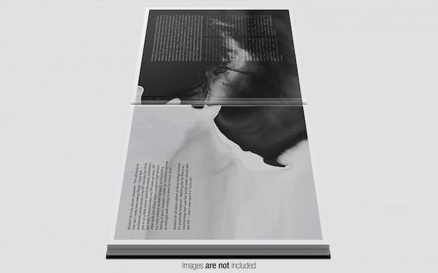 Magazine carré psd maquette vue de côté