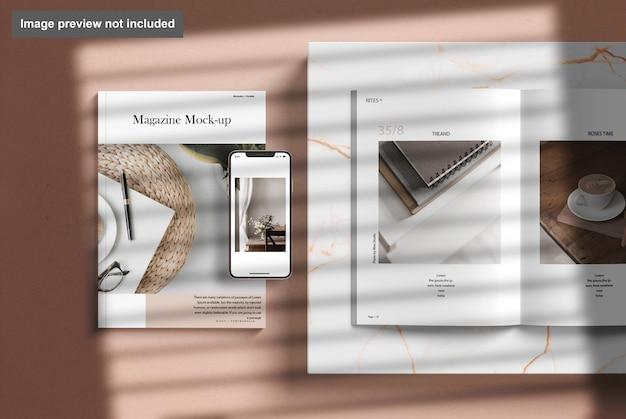 Magazine avec maquette de téléphone