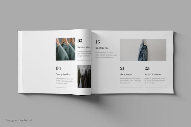 Magazine de paysage et maquette de livre vue de dessus