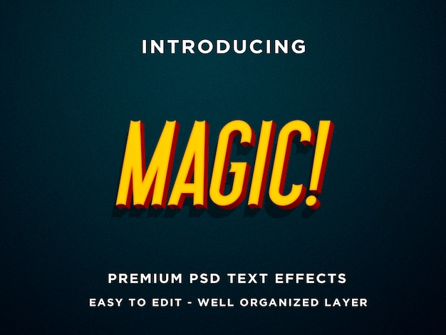 Magic, premium effets de texte 3d psd