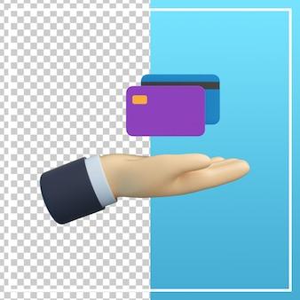 Main 3d avec icône de carte de crédit