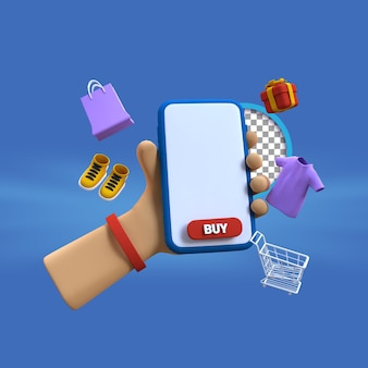 Main de dessin animé 3d à l'aide d'un smartphone avec un objet de mode illustration