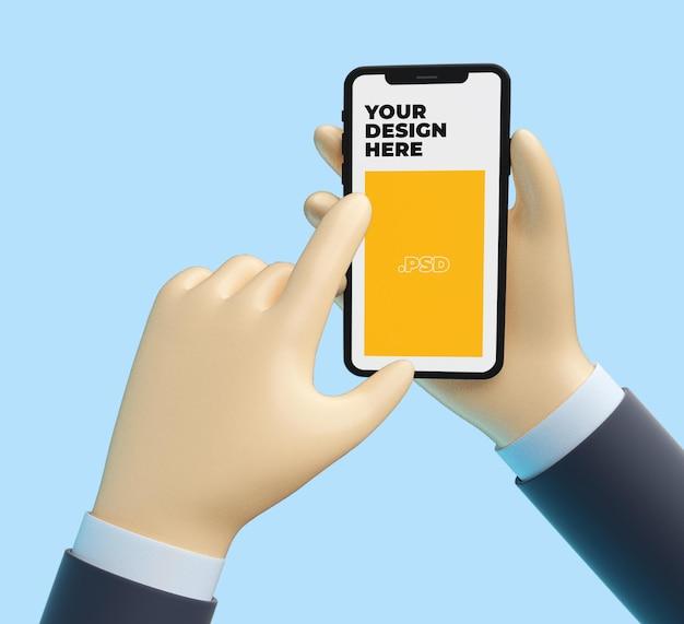 Main de dessin animé 3d avec maquette de téléphone