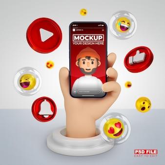 Main de dessin animé 3d mignon avec maquette de rendu 3d de smartphone