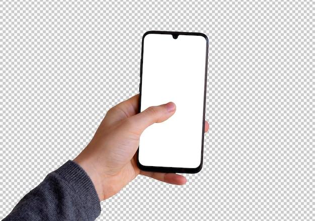 Main gauche isolée tenant un smartphone