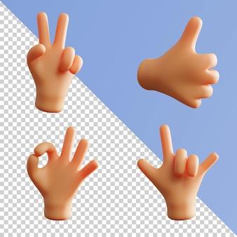 Main gesture cute 3d rendering fist metal rock pack