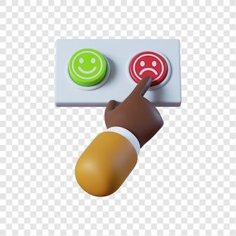 Main d'homme d'affaires afro-américain de dessin animé en appuyant sur le bouton rouge