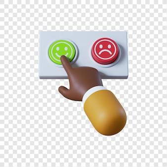 Main d'homme d'affaires afro-américain de dessin animé en appuyant sur le bouton vert