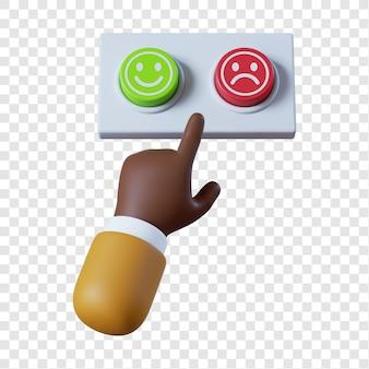 Main d'homme d'affaires afro-américain de dessin animé avec deux boutons