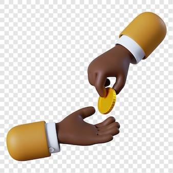 Main d'homme d'affaires afro-américain de dessin animé donnant pièce