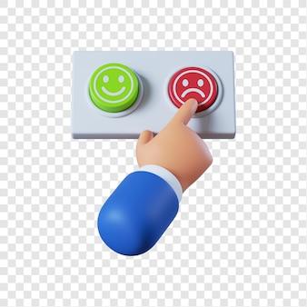 Main d'homme d'affaires de dessin animé en appuyant sur le bouton rouge