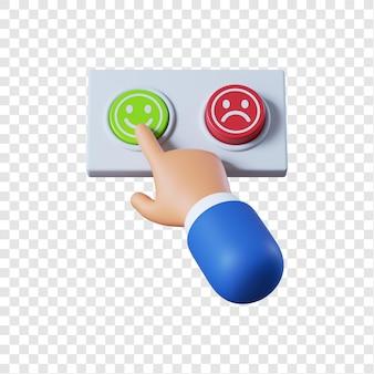 Main d'homme d'affaires de dessin animé en appuyant sur le bouton vert