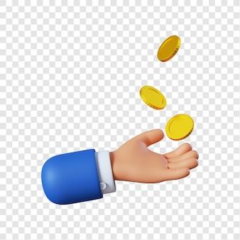 Main d'homme d'affaires de dessin animé avec des pièces de monnaie