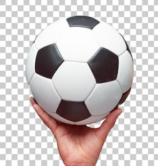 Main mâle isolé, tenant une balle de football