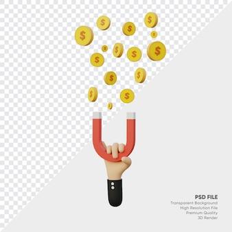 La main de rendu 3d avec un aimant attire les pièces de monnaie