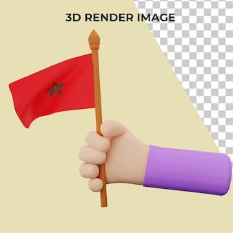 Main de rendu 3d avec le concept de la fête nationale du maroc