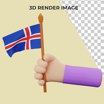 Main de rendu 3d avec le concept de la fête nationale de l'islande