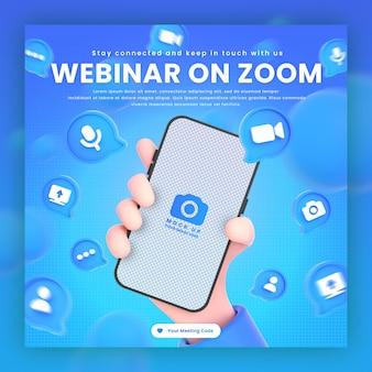 Main tenant des icônes de zoom de téléphone autour d'une maquette de rendu 3d pour le modèle de publication de webinaire de zoom