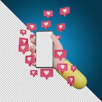 Main tenant le symbole d'icône d'amour d'émotion. icônes de coeur, icône de médias sociaux, illustration 3d