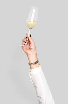 Main, tenue, champagne