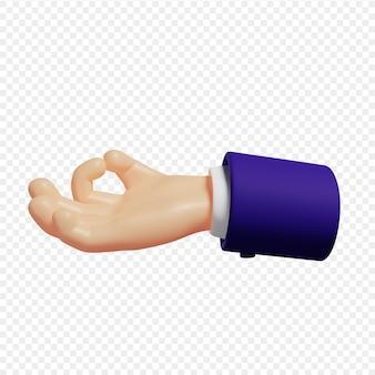 Les mains 3d montrent le concept de méditation de geste de gyan mudra illustration 3d isolée