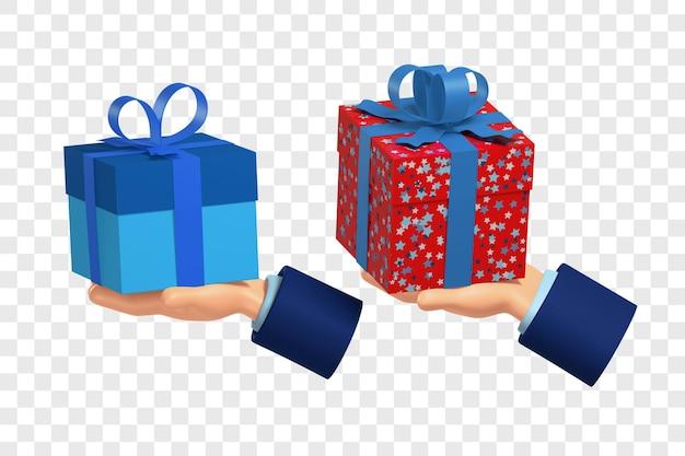 Les mains 3d tiennent des cadeaux dans une boîte rouge et une bleue avec la personnalisation des couleurs