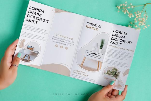 Les mains de la femme tiennent une maquette de brochure quadruple au-dessus d'un fond turquoise avec une brindille sèche.