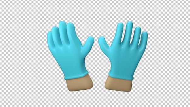 Mains mettant des gants bleus de protection isolés dans le rendu 3d