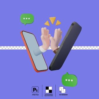 Les mains surgissent de l'écran du smartphone donnant des boîtes de message hifive