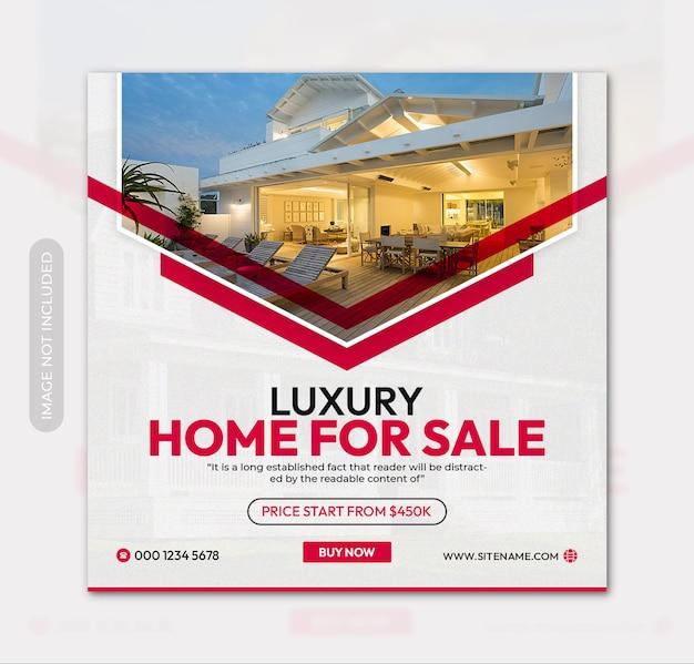 Maison de luxe à vendre flyer carré ou bannière instagram modèle de publication sur les réseaux sociaux
