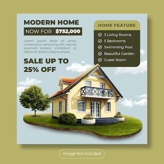 Maison moderne à vendre bannière de modèle de publication instagram