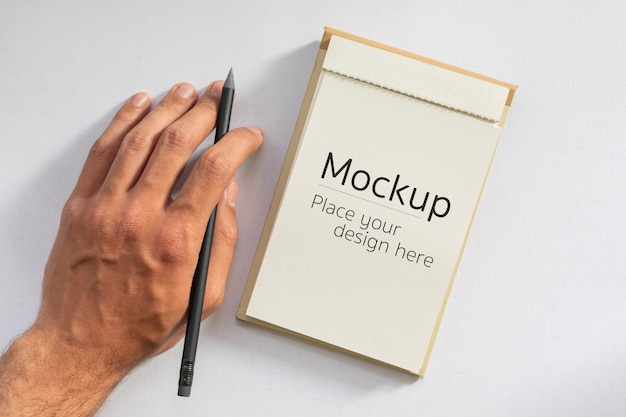 Mâle, main gauche, tenue, crayon noir, côté, vierge, carte, cahier, écriture