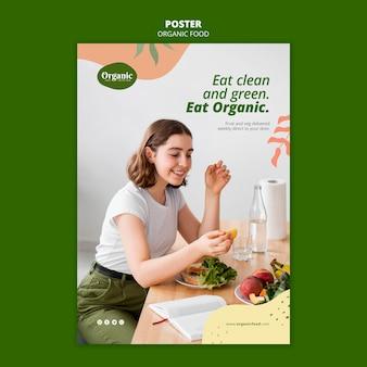 Mangez un modèle d'affiche propre et vert