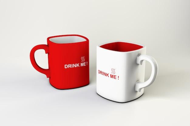 Maquette de 2 tasses à café carrées