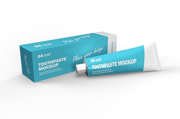 Maquette 3d de boîte et tube de dentifrice